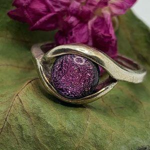 Silver Ring Multicolor Glass Druzy Bead Ball